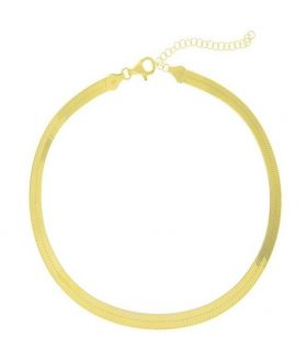 Flat Necklace Chain Gold Plated Silver