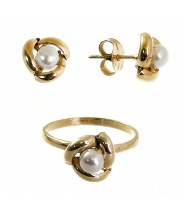 Knot with Pearl Communion Set Gold Plated Silver