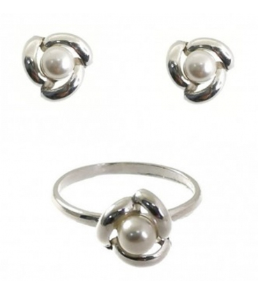 Silver Comunion Set Knot with Pearl Design