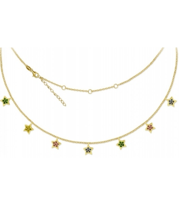 Colourful Stars Necklace Gold Plated Silver