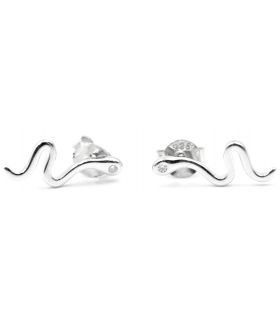 Snake Silver Stud Earrings