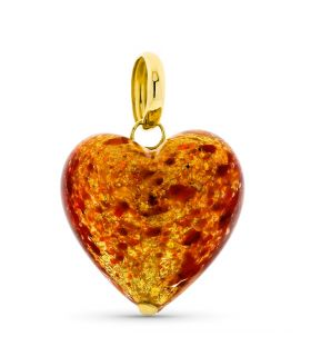 Flame Red Murano Heart Gold Pendant