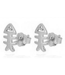 Fish Skeleton Silver Earrings