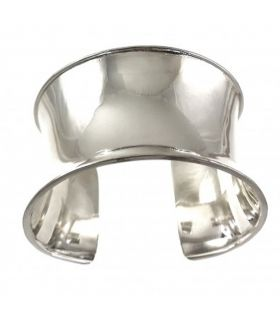 Plain Wide Silver Cuff Bangle