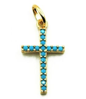 Gold Cross with Turquoise Stones