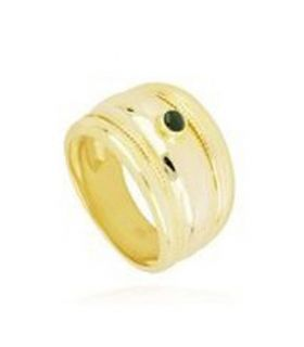 Wide Band Ring with Stone