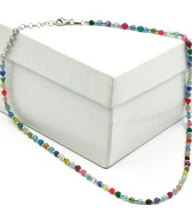 Multicolour Beads Silver Necklace