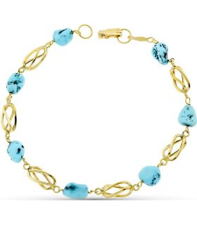 Turquoise and Yellow Gold Bracelet